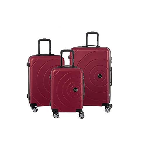 Juego de 3 maletas, 2 tamaños y 1 tamaño cabina., granate (Rojo) - 91110-3BUR