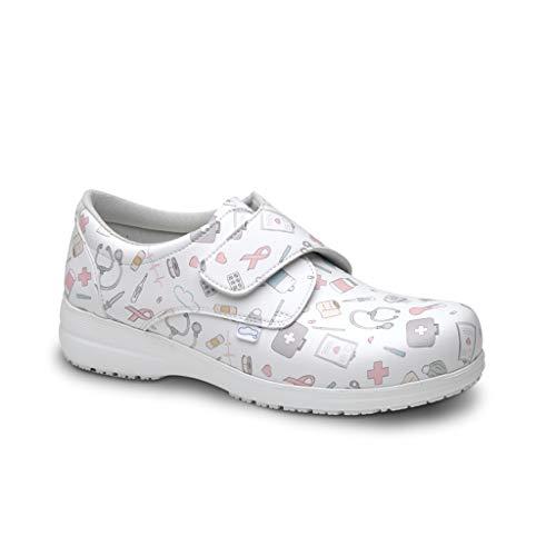 FELIZ CAMINAR - Zapatos Estampados Sanitarios Atom Sanitario/Antideslizantes y Cómodos para...