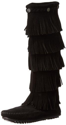 Minnetonka 5-Layer Fringe, Botas Mocasin Para Mujer, Negro (Black), 41 EU