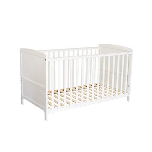 Puckdaddy Cuna de bebé Mika - 140x70 cm, Cuna Convertible de Madera en Blanco, Cuna Ajustable en...