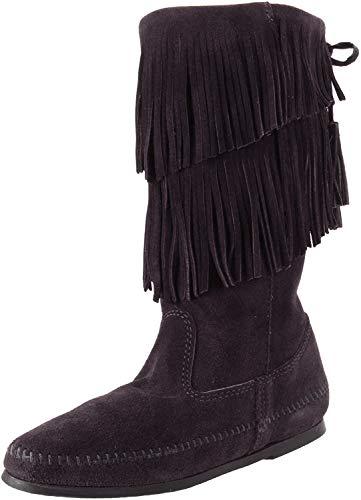Minnetonka Calf Hi 2-Layer Fringe Boot, Botas Mocasines Mujer, Negro, 36