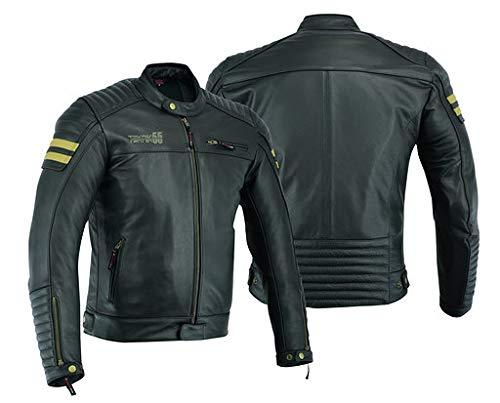 Chaqueta de piel para motorista con armadura, para hombre, estilo vintage envejecido, color negro,...