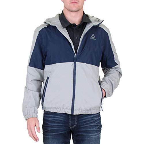 Reebok Chaqueta cortavientos para hombre, logo en la parte trasera, gris/azul marino, L