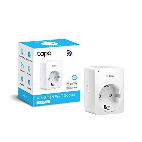 TP-Link TAPO P100 - Mini Enchufe Inteligente Wi-Fi, óptimo para programar el encendido/apagado y...