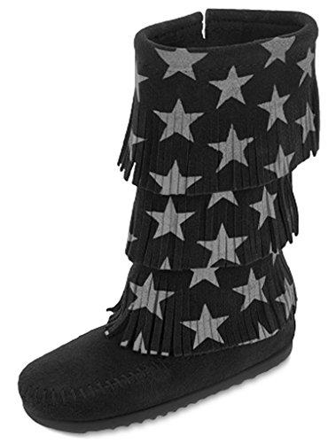 Minnetonka3-Layer Fringe Boot - K - Bota con 3 Capas de Flecos - K Unisex Niños, Negro (Negro), 4...
