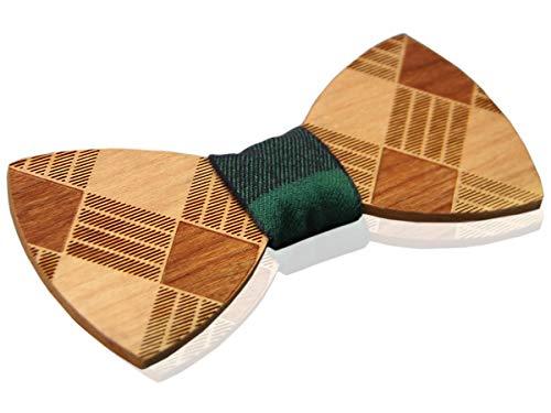 Pajarita de madera estampados lineales