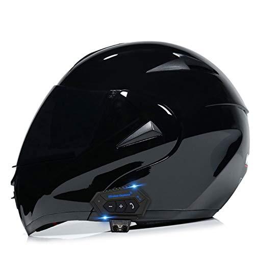 ZhangHai Casco de Moto Bluetooth Integrado Flip Up Casco Moto Integral Modular Casco Certificación...