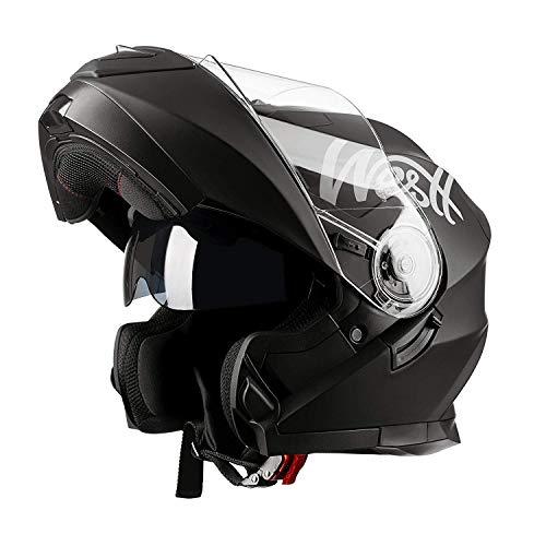 Westt - Casco Moto Modular Integral con Doble Visera Torque X, Para Motocicleta Scooter, Color Negro...
