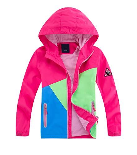 YoungSoul Chaqueta Impermeable para Niños Cortavientos Niña con Capucha y Colour Block...
