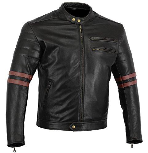 Australian Bikers Gear Chaqueta Moto Black Premium en Cuero Twinstripe Racer, Negro Envejecido y...