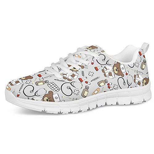 POLERO Zapatos Deportivos para Mujer, Zapatillas Planas con diseño de Osos, Zapatillas de Tenis con...