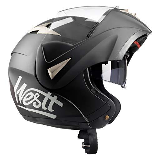 Westt Torque - Casco De Moto Modular Integral Negro Mate con Doble Visera para Motocicleta Scooter -...