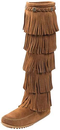 Minnetonka 5-Layer Fringe, Botas Mocasin Mujer, Marrón (Dusty Browndusty Brown), 41 EU