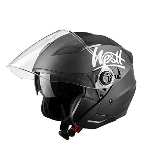 Westt Jet - Casco de Moto Abierto Negro Mate con Doble Visera para Motocicleta Scooter - Certificado...