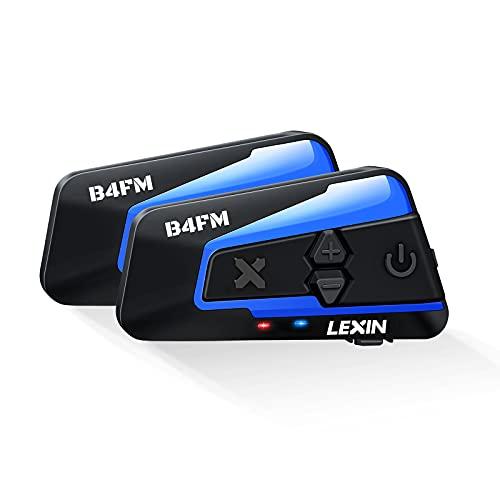 LEXIN 2X B4FM Intercomunicador Casco Moto Bluetooth,Manos Libres 1-10 Motoristas,Sistema...