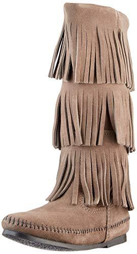 Minnetonka 3-Layer Fringe Boot, Botas Mujer, Gris, 38