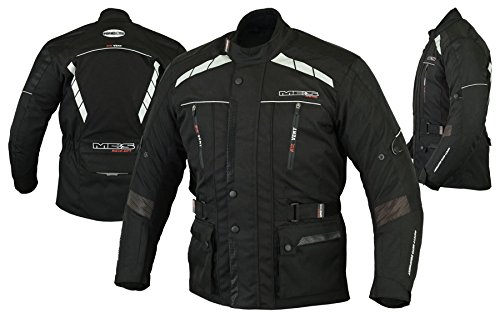 MBS MJ21 James Motocicleta Motocicleta larga chaqueta de viaje textil (Negro, XL)