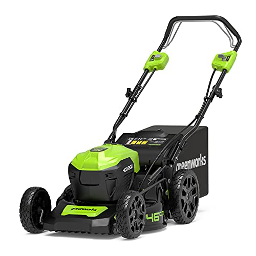 Greenworks Tools GD40LM46SP Cortacésped con Batería (Li-Ion 40 V 46 cm Ancho 750 m² 3-in-1...