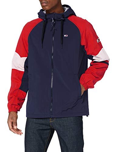 Tommy Jeans TJM Mix Fabric Zipthrough Chaqueta, Azul (Twilight Navy/Multi), L para Hombre