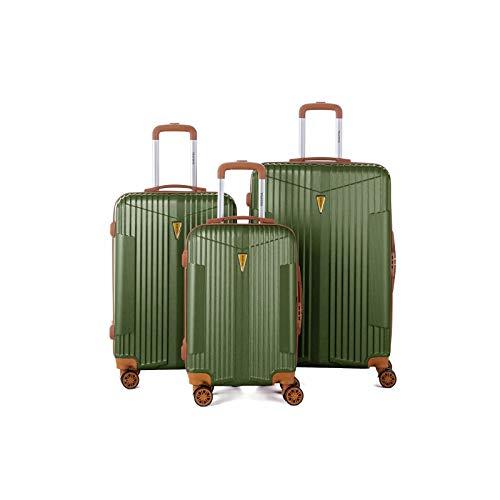 Murano – Juego de 3 maletas, 2 tamaños y 1 tamaño cabina – equipaje rígido ABS – Caqui –...
