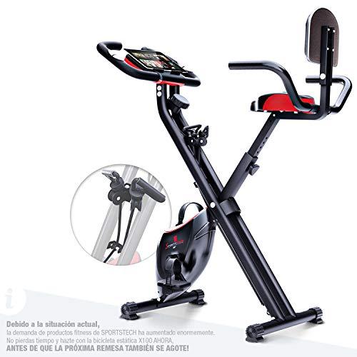 Bicicleta estática plegable Sportstech F-Bike X100-B con sistema de resistencia inteligente,...