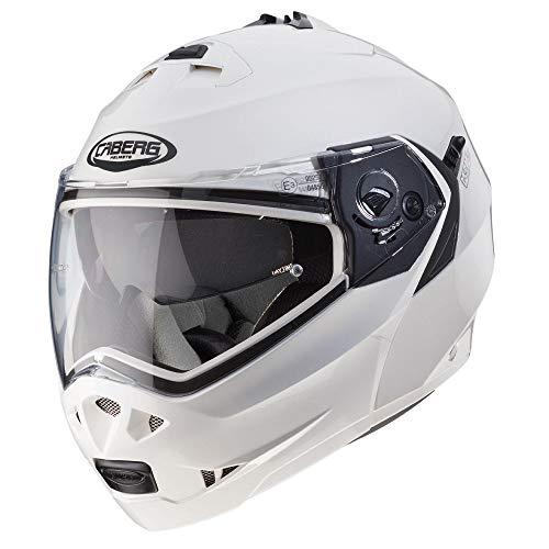 Caberg 1488298 Duke - Casco con tapa frontal para moto, color plateado, 0488465, gloss white, 59-60