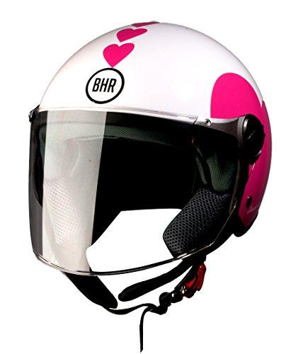 BHR 93772 Demi-Jet Love 710 Casco de Moto, Color Blanco, Talla 55/56 (S)