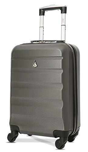 Aerolite ABS Maleta Equipaje de mano cabina rígida ligera con 4 ruedas, 55cm, Gris oscuro
