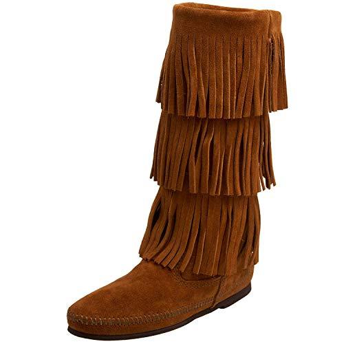 Minnetonka Calf Hi 3-Layer Fringe Boot, Botas Mocasin para Mujer, Marrón (Dusty Brown Suede), 37 EU