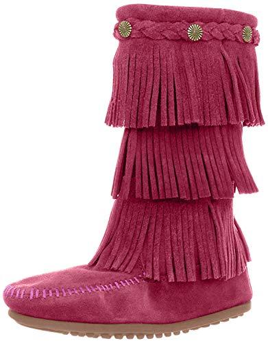 Minnetonka 3-Layer Fringe, Botas Mocasin Infantil, Rosa (Bright Pink), 30/31 EU