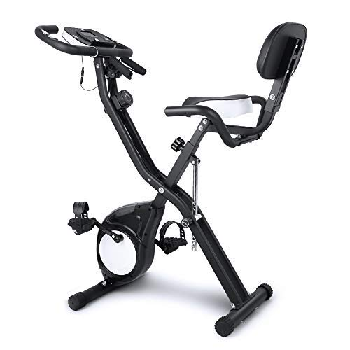 EVOLAND Bicicleta Estática Plegable, Bicicleta de Entrenamiento de Fitness 10 Niveles Resistencia...