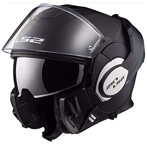 LS2, casco de moto modular VALIANT negro mate, L