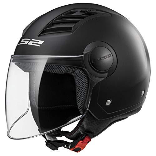 LS2, casco moto jet Airflow negro mate, M