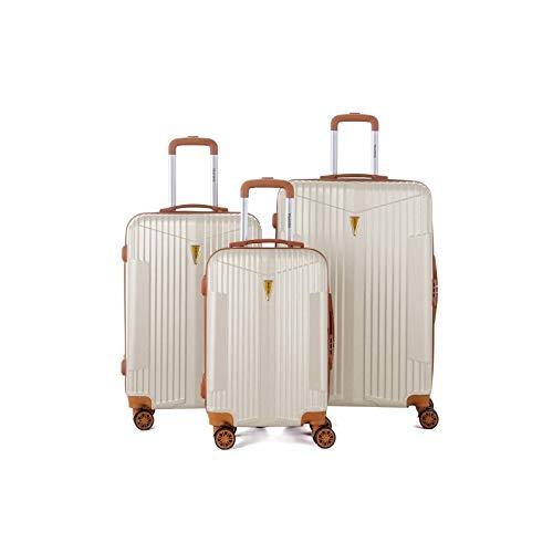 Murano – Juego de 3 maletas, 2 tamaños y 1 cabina – equipaje rígido ABS – Marfil – Gama...