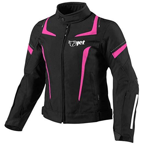 JET Chaqueta Moto Mujer Textil Impermeable con Armadura (Rosa, 3XL (ES 46-48))