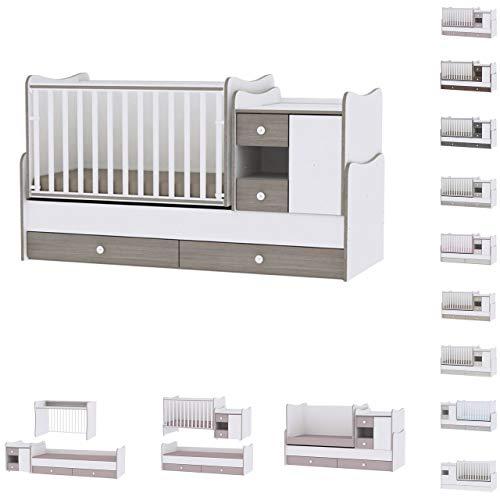Lit bébé évolutif/ combiné MiniMax 3en1 Lorelli blanc/café (le lit bébé se transforme en:...