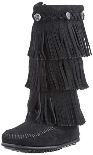 Minnetonka 3-Layer Fringe, Botas Mocasin Niñas, Negro (Black), 28/29 EU