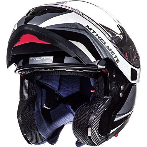 Casco con tapa frontal para motocicleta MT Atom SV Tarmac, Gloss & Matt Black White, XS