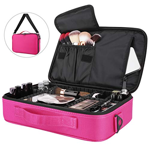 Luxspire Makeup Cosmetic Storage Bag, Portable Waterproof Double Layer Make up Case Cosmetic Pouch...