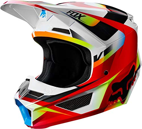 FOX V-1 Motif Helmet, Hombre, Red/White, XL