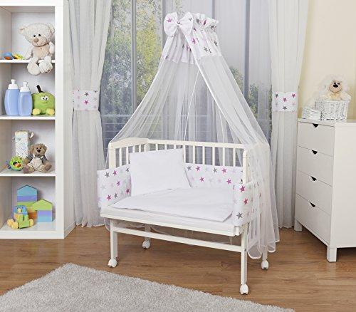 WALDIN Cuna colecho para bebé con equipamiento completo, lacado en blanco, 14 modelos a elegir a...