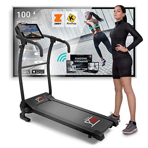 YM TAP100 Cinta De Correr Eléctrica Plegable 10 km/h, Aplicaciòn Compatible Kinomap y Zwift, 12...