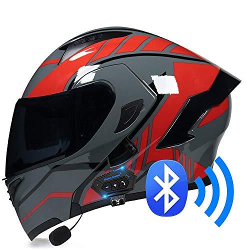 BDTOT Bluetooth Casco Moto Modular Doble con Doble Visera en Integrado de Intercomunicación Sistema...