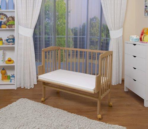 WALDIN Cuna colecho para bebé, cuna para bebé, altura regulable, natural sin tratamientos o lacado...