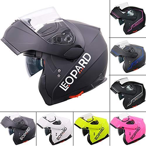 Casco para motocicleta Leopard, LEO-838, con visera solar doble con frente rebatible, seguridad para...