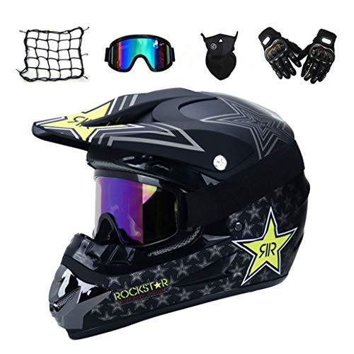 VOMI Casco Descenso Hombre, Negro/Rockstar - Adulto Casco Motocross Enduro MTB con...
