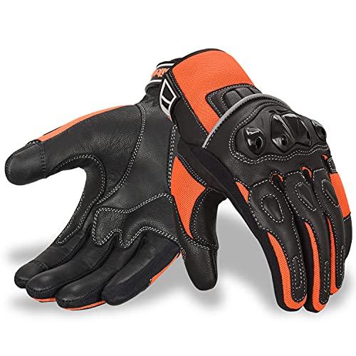 Oro Biker Guantes de Moto, Cuero Premium Transpirable Nudillos Protección pantalla táctil Guantes...