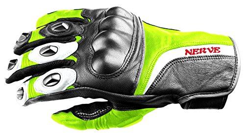 Nerve Guantes Moto de Cuero KQ11, Negro/Verde Neón, 9