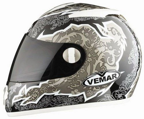 VEMAR casco Full Face ALKON VTX EVO negro-blanco tamano : M