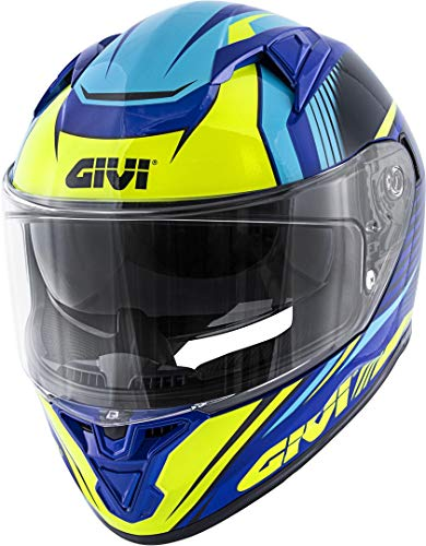 Givi Hps 50.6 Stoccarda Full Face Helmet Graphics Glade Painted Blue/Yellow Size 60/L   H506FGDBL60